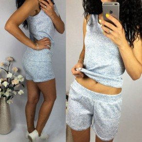 Grey Round Neck Sleeveless Two Piece Sports Short Jumpsuit