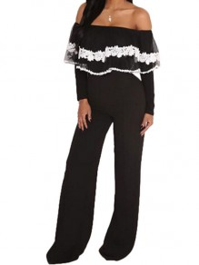 Black-White Patchwork Lace Ruffle Off Shoulder Long Sleeve Wide Leg Long Jumpsuit