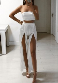 White Bandeau 2-in-1 Side Slit Sewing High Waisted Long Jumpsuit