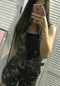 Army Green Camouflage Pockets Sleeveless Casual Short Jumpsuit
