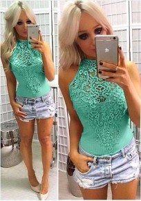 Green Patchwork Lace Off-Shoulder Elastic Waist Short Jumpsuit