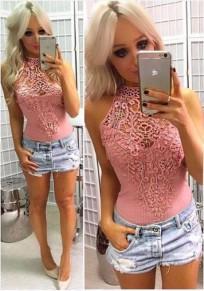 Pink Patchwork Lace Off-Shoulder Elastic Waist Short Jumpsuit