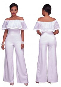 White Patchwork Lace Off Shoulder High Waisted Wide Leg Long Jumpsuit