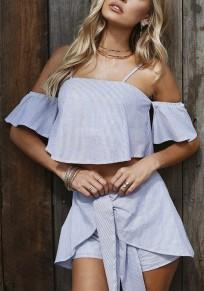 Light Blue Striped Condole Belt 2-in-1 Short Sleeve Fashion Short Jumpsuit