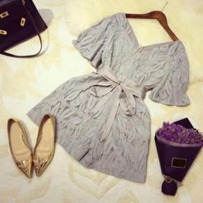 Grey Flowers Lace Sashes V-neck High Waisted Elegant Short Jumpsuit