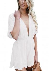White Patchwork Lace Double-deck Zipper Sewing Mid-rise Short Jumpsuit