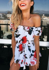 Red Floral Tassel Drawstring Waist Mid-rise Short Jumpsuit