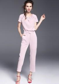 Pink Belt Round Neck Short Sleeve 2-in-1 Long Jumpsuit