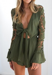 Green Patchwork Lace Deep V-neck Long Sleeve Short Jumpsuit