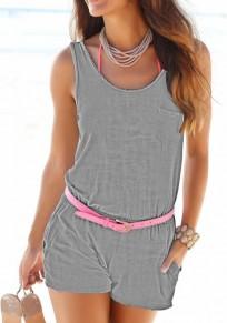Shorts combinaison poches élastique taille normale décontractée gris
