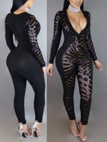 Black Patchwork Sequin Glitter Sparkly Deep V-neck Long Sleeve Fashion Sheer Bodycon Long Jumpsuit