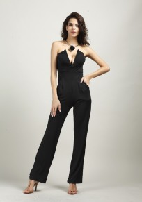 Black Bandeau Elastic Waist Fashion Long Jumpsuit