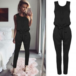 Black Pleated Bow High Waisted Fashion Long Jumpsuit