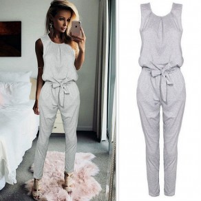 Grey Pleated Bow High Waisted Fashion Long Jumpsuit