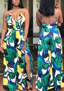 Green Floral Print Cut Out Spaghetti Strap Slit Wide Leg Long Jumpsuit