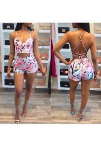 Pink Floral Spaghetti Strap Cross Back Off Shoulder Tie Back Backless Short Jumpsuit