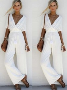 White Plain Pleated Plunging Neckline Polyester Long Jumpsuit