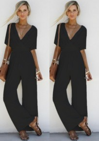 Black Plain Pleated Plunging Neckline Polyester Long Jumpsuit