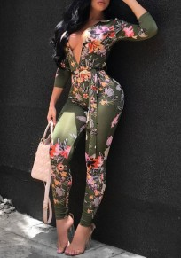 Green Floral Print Sashes Deep V-neck Long Sleeve High Waisted Long Jumpsuit