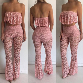 Pink 2-in-1 Lace Bandeau High Waisted Casual Long Jumpsuit