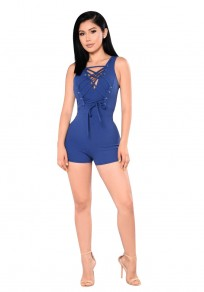 Blue Drawstring Zipper Lace-up High Waisted Bodycon Fashion Short Jumpsuit