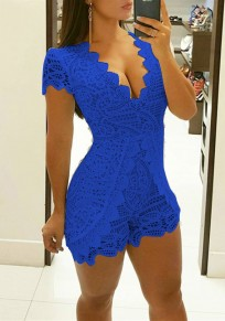 Blue Patchwork Irregular Ruffle Lace Bodycon Club Short Jumpsuit
