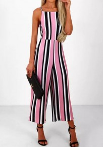 Pink Striped Tie Back Zipper Sewing High Waisted Long Jumpsuit