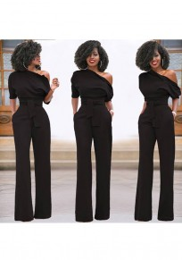 Black Asymmetric Shoulder Sashes Irregular Fashion Long Jumpsuit