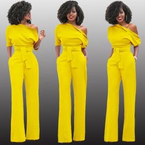 Yellow Asymmetric Shoulder Sashes Irregular Fashion Long Jumpsuit