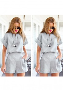 Grey Irregular Two Piece Plus Size Short Jumpsuit