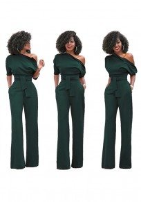 Army Green Asymmetric Shoulder Sashes Fashion Long Jumpsuit