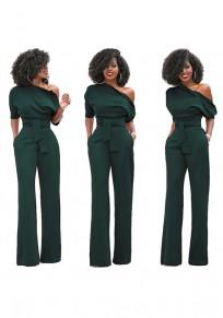 Army Green Asymmetric Shoulder Sashes Fashion Long Jumpsuit