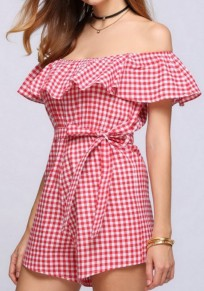 Red Plaid Ruffle Sashes Off Shoulder High Waisted Short Jumpsuit
