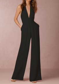 Black Pleated Pockets Backless Zipper High Waisted Long Jumpsuit