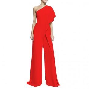Red Asymmetric Shoulder Ruffle Irregular Party Wide Leg Long Jumpsuit