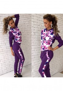 Purple Flowers Zipper Print Sports Long Jumpsuit