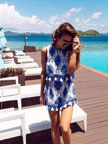 Blue Floral Vintage Embroidery Cut Out Tassel Two Piece Cute Short Jumpsuit