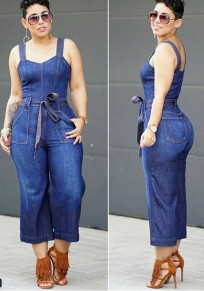 Blue Plain Sashes Pockets Fashion Long Jumpsuit