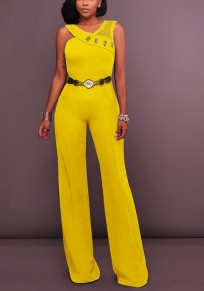 Yellow Plain Cut Out Rhinestone Fashion Long Jumpsuit