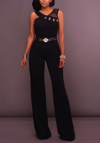 Black Plain Cut Out Rhinestone Fashion Long Jumpsuit