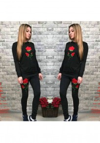 Black Flowers Embroidery 2-in-1 Drawstring Waist Casual Long Jumpsuit