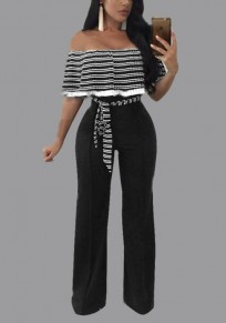 Black Striped Sashes Ruffle Backless Off Shoulder Plus Size Wide Leg Long Jumpsuit
