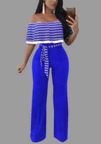 Royal Blue Striped Sashes Ruffle Backless Off Shoulder Plus Size Wide Leg Long Jumpsuit
