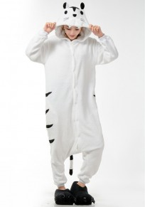 White Animal Tiger Pockets Buttons Oversize Cosplay Onesie Pajamas Long Jumpsuit