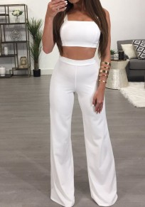 White Zipper Backless Las Vegas Two Piece Wide Leg Long Jumpsuit