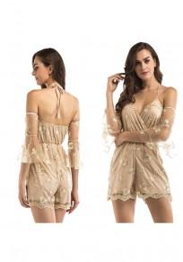 Khaki Patchwork Embroidery Condole Belt Elastic Waist Fashion Short Jumpsuit