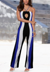 White Striped Print Cut Out Backless Spaghetti Strap Wide Leg Long Jumpsuit