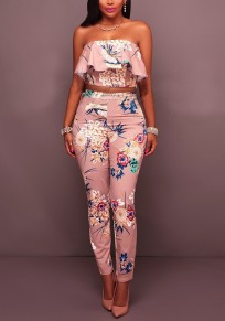 Pink Colorful Bohemian Floral Ruffle Off Shoulder Two-pieces Homecoming Party Long Jumpsuits