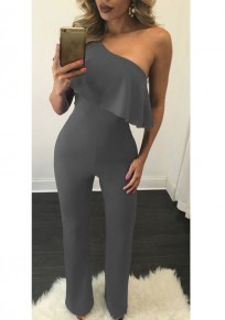 Grey Asymmetric Shoulder Ruffle One Shoulder Homecoming Party Long Jumpsuit