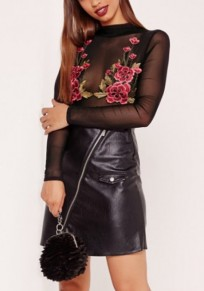 Black Flowers Embroidery Grenadine Band Collar Long Sleeve Short Jumpsuit